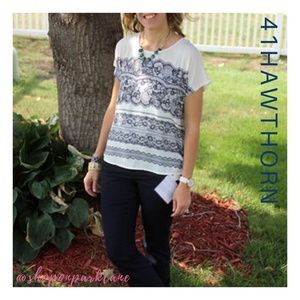 Stitch Fix | 41 Hawthorn Milan Lace Print Top, Med